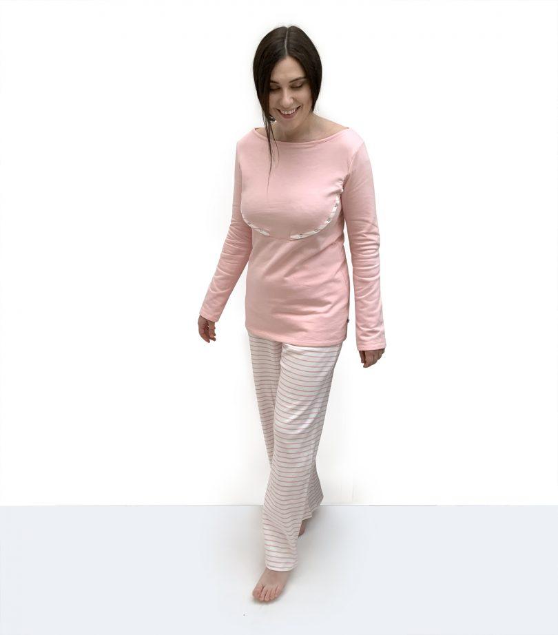 pink breastfeeding pyjamas